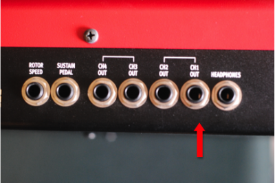 Outputs on a Nord Stage EX board. It has 4 separate outputs which can be set up to run stereo (1&2) or mono (1) for whatever sound you want to express.