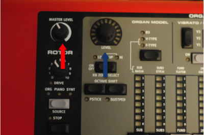 On Nord keyboards you'll have a master volume (red arrow) and then a separate volume for each sound engine (blue arrow). Master volume typically should not be adjusted once the PA level is set.